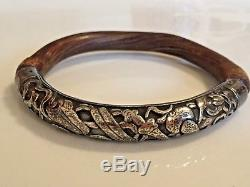 ANTIQUE CHINESE BAMBOO WOOD & SILVER REPOUSSE BANGLE BRACELET -Please SEE