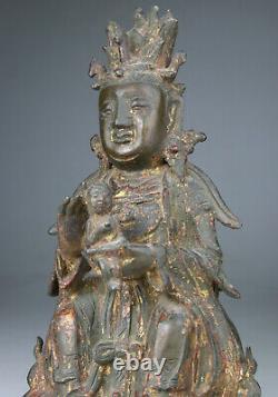 ANTIQUE CHINESE BRONZE STATUE FIGURE BUDDHA KWANYIN LADY LION GILT Ming 17TH