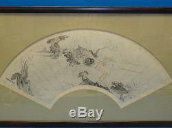 ANTIQUE CHINESE FAN PAINTING SCHOLARS IN PAVILION EARLY 20 c. SIGNED