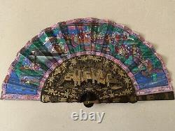 ANTIQUE CHINESE PAINTED 1000 FACES FAN- 19th Century- Original Box