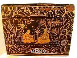 ANTIQUE CHINESE TEA CADDY GILDING ORIGINAL ENGRAVED PEWTER INTERIOR c. 1850