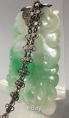 ANTIQUE CHINESE WHITE & Apple Green JADE CARVED PENDANT Silver filigree