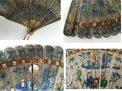 ANTIQUE Chinese for Export GILDED SILVER FILIGREE & ENAMEL BRISE FAN. RARE