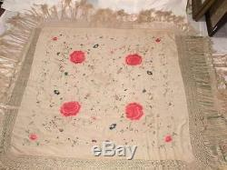 ANTIQUE EARLY 20th CHINESE CANTONESE EMBROIDERED SILK PIANO SHAWL EMBROIDERY #3