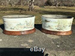 ANTIQUE PAIR CHINESE QING PORCELAIN PLANTERS With WOODEN STANDS & COPPER LINERS