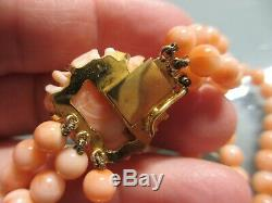 ANTIQUE TRIPLE STRAND CHINESE 20 SALMON CORAL BEAD NECKLACE WithCARVED ROSE CLASP