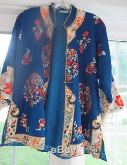 ANTIQUE VINTAGE CHINESE KIMONO ROBE all silk EMBROIDERED sz M/L PRISTINE