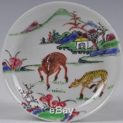 A Chinese Porcelain Qianlong Period Famille Rose Cup And Saucer With Deer