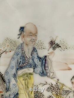 A Chinese Porcelain Table Screen Plaque On Wood Base