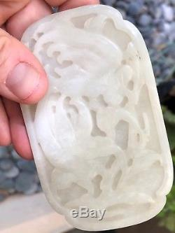 A+ Chinese Qing Era Carved White Jade Buddhas Hand Citron Fruit Relief Plaque