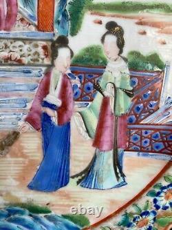 A Fine Antique Chinese Rose Medallion Porcelain Plate Figural Scene