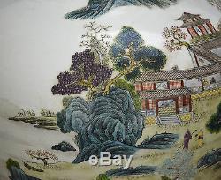 A Large Antique Chinese Famille Rose Landscape Globular Porcelain Vase