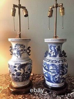 A Pair Of Antique Chinese Blue and White Vase Lamps Hand-Painted