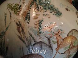 A Rare Monumental Chinese Qing Dynasty 100 Deer Famille Rose Porcelain Vase