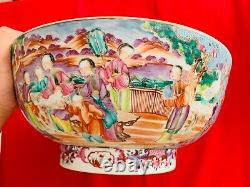 A Super RARE 18th Century Chinese Qing Dynasty Lovable Blue Large Punch Bowl