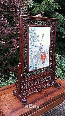 A rare Chinese porcelain mounted table screen #20150017