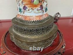 A superb Antique Chinese famille Rose mandarin Lamp vase 18th Century