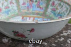 A very big antique Chinese Rose Mandarin Basin Handwasher Canton Famille Rose