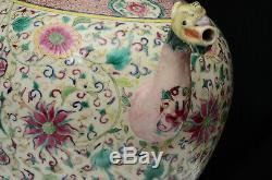 A very large Chinese porcelain famille rose tea pot, 19th century