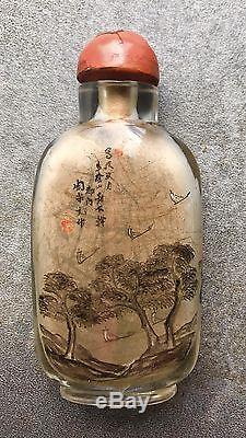 An Antique Chinese Signed Inside Painted Snuff Bottle Ex Sotheby's Label