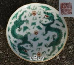 An antique Chinese Dragon saucer in famille verte Daoguang Mark & Period #4