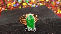 Antique 14k Gold Jade Jadeite Ring Gemstone White Green Mottled Chinese Hololith