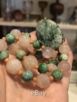 Antique 1920's Chinese Carved Jade Coral Rose Quartz Shou Bead Pendant Necklace