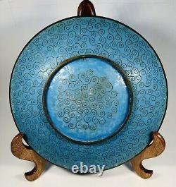 Antique 1920s Chinese Cloisonne Enamel on Bronze Plate 12