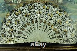 Antique 19th C Chinese Export Or French Hand Painted Fan Framed Case