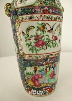 Antique 19th C Chinese Famille Rose Canton Porcelain Vase 12.2 Blue Ground