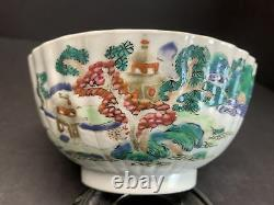 Antique 19th C. Hand Paint Chinese Famille Rose Landscape Pottery Bowl