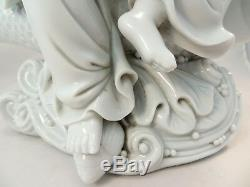 Antique 19th C. Porcelain Chinese Dehua Guanyin & Fish Statue Blanc de Chine 11