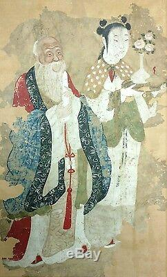 Antique 21in Chinese Ming or Qing Immortal Guan Yin Scroll Painting To Restore