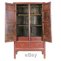 Antique Asian Chinese Red 45 Wide 77 Tall Noodle Wardrobe Wedding Cabinet