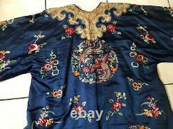 Antique Blue Silk Hand Embroidered Imperial Kesi Kossu Chinese Dragon Robe