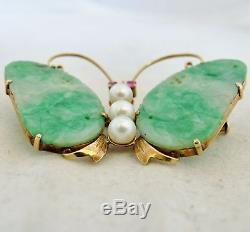 Antique Chinese 14K Gold Butterfly Brooch with Pearls & Green JADEITE Jade (10.4g)