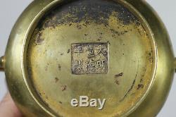Antique Chinese 18th Century Gilt Bronze Xuande Mark Censer Incense Burner