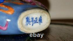 Antique Chinese 19th century enameled porcelain snuff bottle signed Qing Dynasty