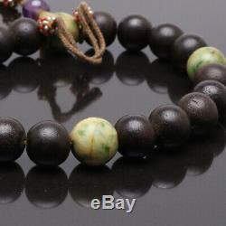 Antique Chinese Agarwood Bead Bracelet Qing Dynasty Jade Red Spinel