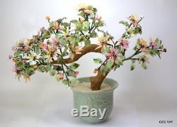 Antique Chinese Art Glass Jade Bonsai Gem Tree Asian Oriental Home Decor Floral