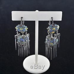 Antique Chinese Art Nouveau Vermeil Enamel Silver Dangle Earrings 2 1/4 Long