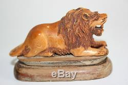 Antique Chinese Boving Bone Carved Lion Figure Statue on Wooden Carved Stand