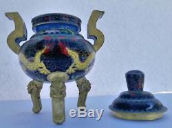 Antique Chinese Brass Cloisonné Censer Pot With Lid Dragon Motif