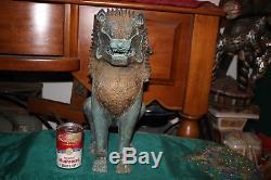 Antique Chinese Cambodia Asian Khmer Lion Foo Dog-Bronze Metal-Large-Buddhist