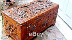 Antique Chinese Camphor Wood Carved Dragons & Battle Scene Blanket Chest 29.5l