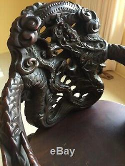 Antique Chinese Carved Dragon Cloud Chair Mahogany Wood