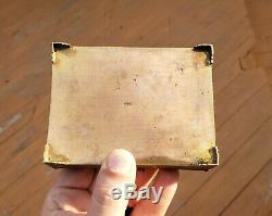 Antique Chinese Carved Jade And Engraved Brass Box