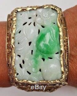 Antique Chinese Carved Jade Gilt Silver Bracelet Filigree Estate Jewelry