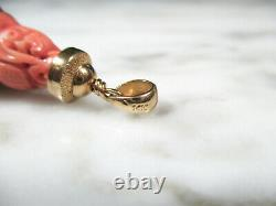 Antique Chinese Carved Natural Pink Coral Guru Bead From Imperial Court Necklace