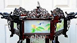 Antique Chinese Carved Rosewood Dragon Reverse Glass Painted Panels Lantern, Lamp